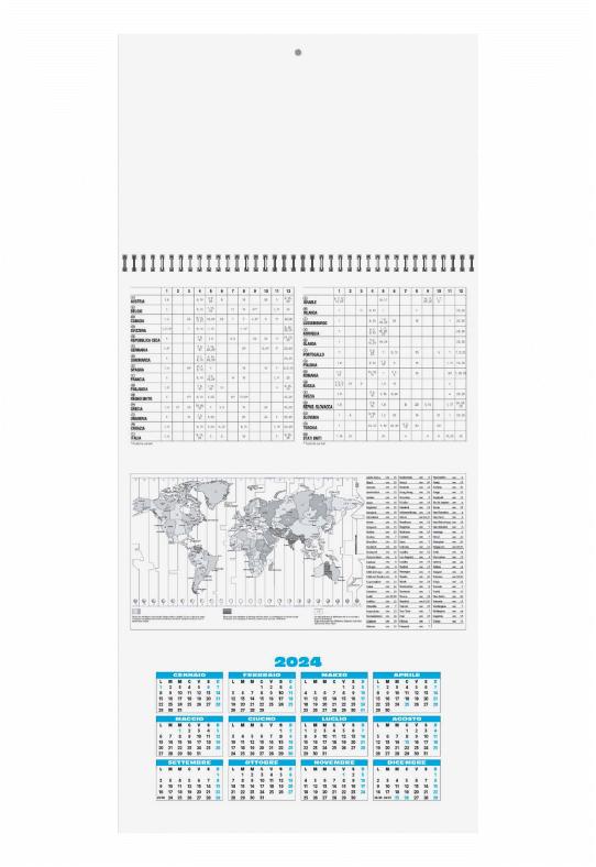 Calendario Trimestrale 2020.Calendario Trittico Azzurro 1 Spirale