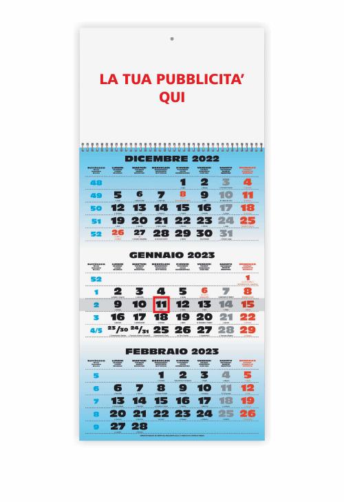 Calendario Trimestrali 2020.Calendario Trittico Azzurro 1 Spirale